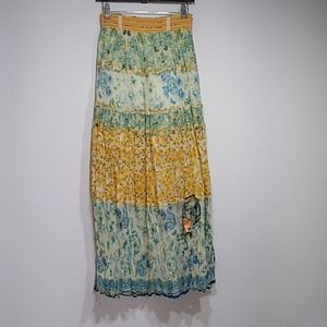 Johnny Was Yellowfield 8 floral maxi skirt XS